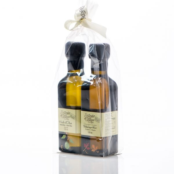 Duo vinaigre balsamique blanc à l'érable et huile d'olive de Nect'Art de fleurs